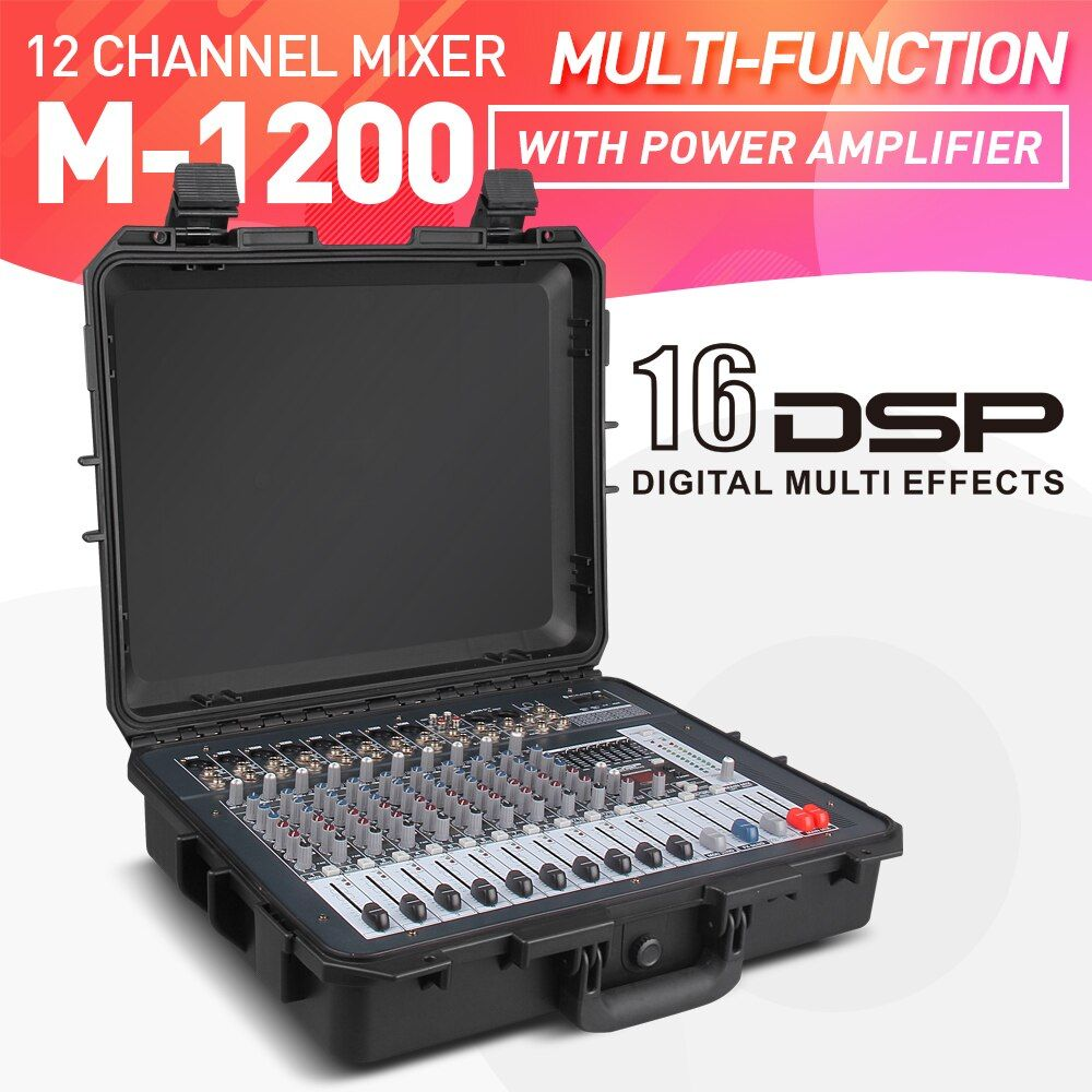 Gute qualität, Sauberen klang!!! 12 kanäle 500 Watt Power verstärker Mixer Digitale Tragbare Audio Mischpult Phantom Power USB