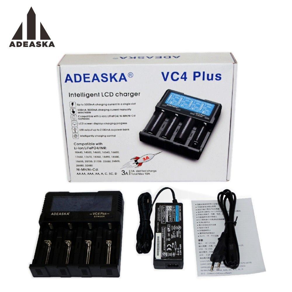 ADEASKA VC4 PLUS C4 VC4 LCD Smart Batterie Ladegerät für Li-Ion/IMR/INR/ICR/LiFePO4 18650 14500 26650 AA 3,7 1,2 V 1,5 V Batterien D4