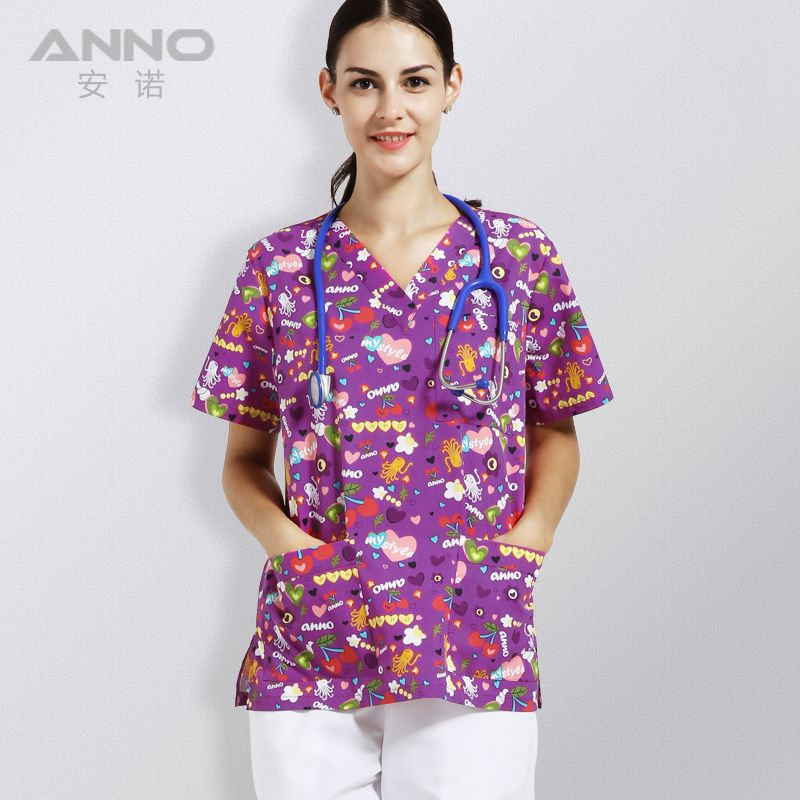 Print short-sleeved Slim Fit Nurse Clothing Medical and Wellness Hospitality Uniforms Medical Scrubs White Selling Free Sh