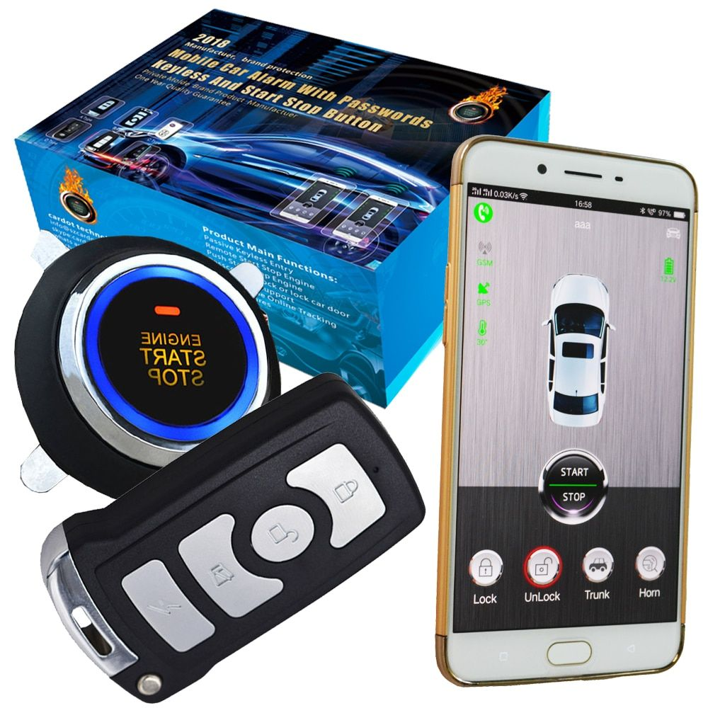 auto car engine start stop by mobile app gps online real time tracking alarm trigger sms to mobile app keyless central door lock