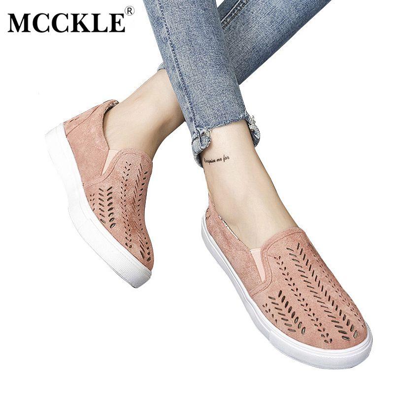 Mcckle 2017 mujeres vulcanizar recortes planas marca slip-on plataforma banda elástica señoras estilo Mocasines rebaño mujer mujer Zapatos