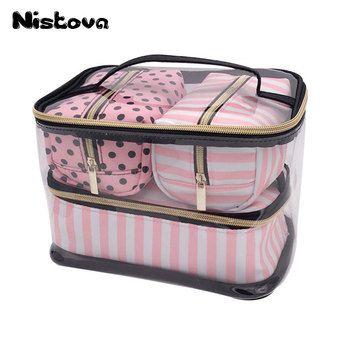 PVC Transparent Cosmetic Bag Organizer Travel Toiletry Bag Set Pink Beauty Case Makeup Case Beautician Vanity Necessaire Trip