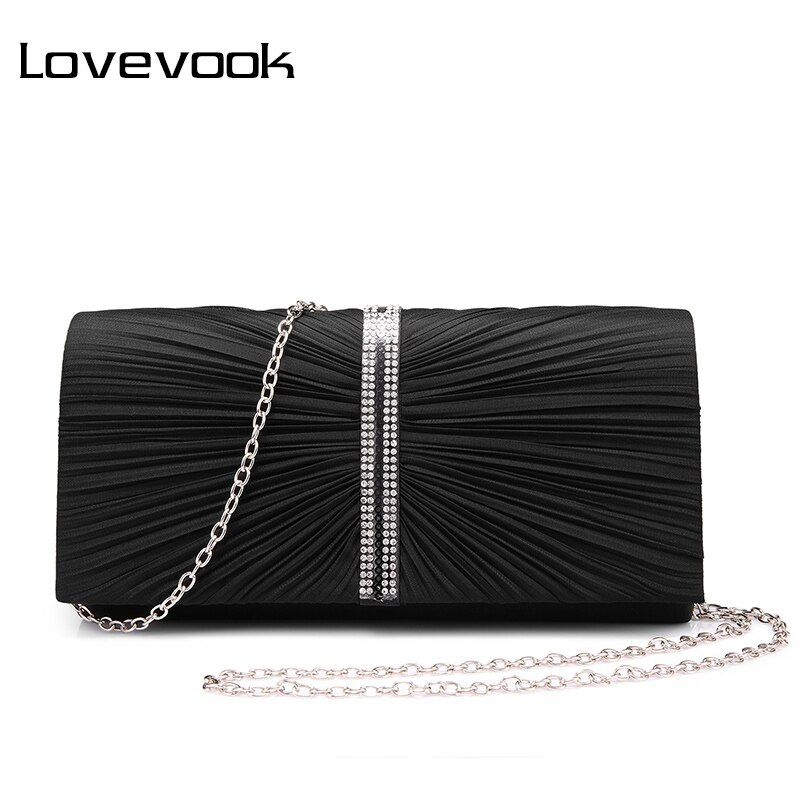 LOVEVOOK brand fashion women evening clutch bags female crossbody bags with beading pleated soft new purse wallet money clip