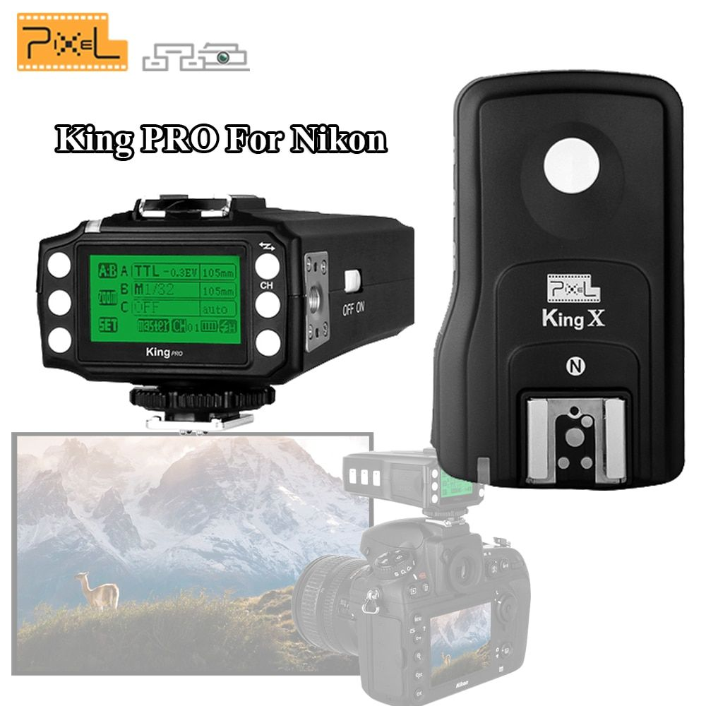 Pixel King Pro Wireless 2.4GHz TTL 1/8000s HSS Flash Trigger Kit Transmittter Transceiver For Nikon D7100 D7200 D810 D5 Camera