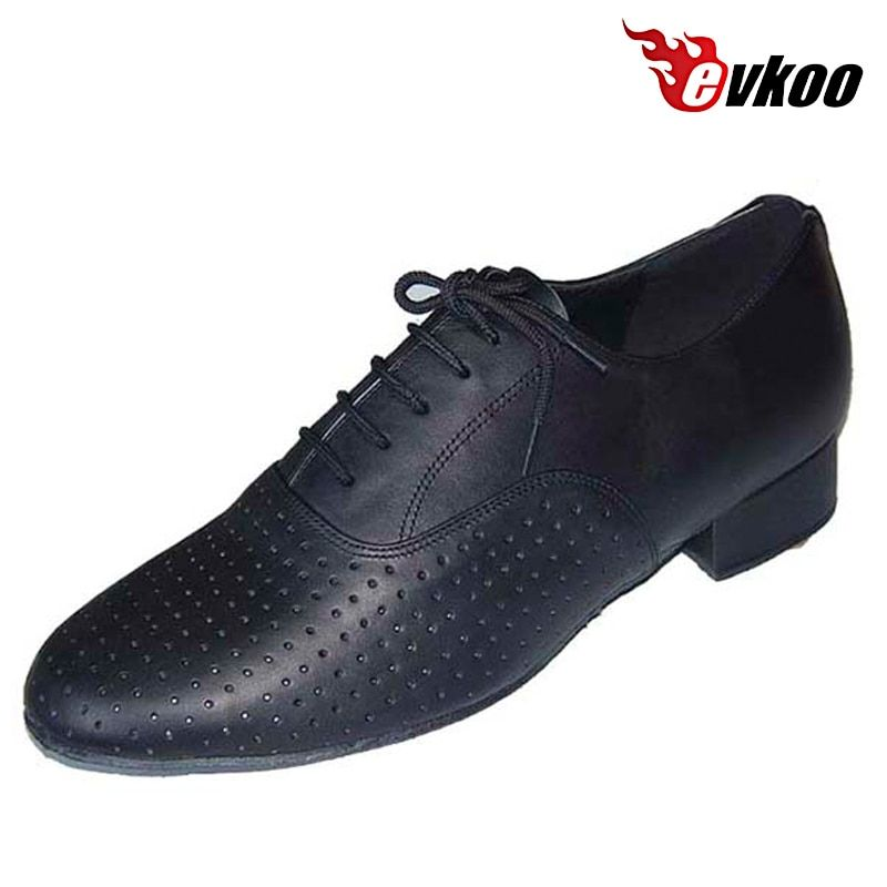 Evkoodance Perforated Genuine Leather Man's Modern Tango Salsa Dance Shoes 2.5cm Heel Soft Sole Shoes Evkoo-304