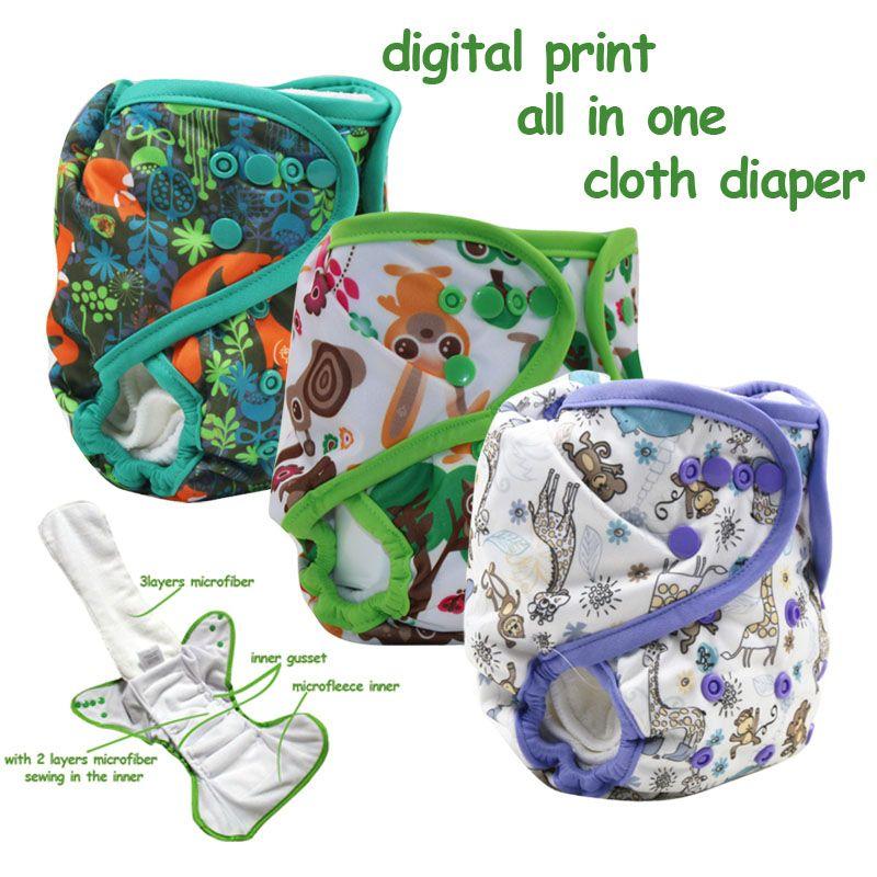 Étanche digital print nuit utiliser tout en un couches lavables avec micro polaire intérieure, AIO bébé couches avec soufflet intérieur gros