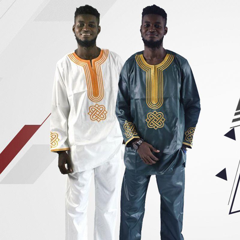 H & D 2017 все мужские африканских традиционная одежда Базен Riche Hombres Camisa con Pantalones bordado Camiseta Платье с длинными рукавами для мужчин