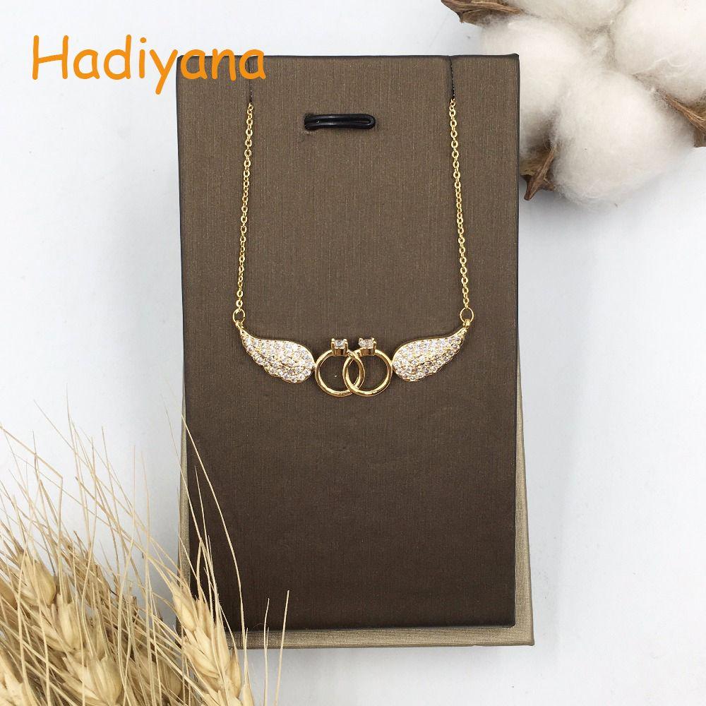 HADIYANA cubique zircone ailes forme pendentif collier pour femmes cadeau lien chaîne mode deux forme ronde avec pendentif ange XL056