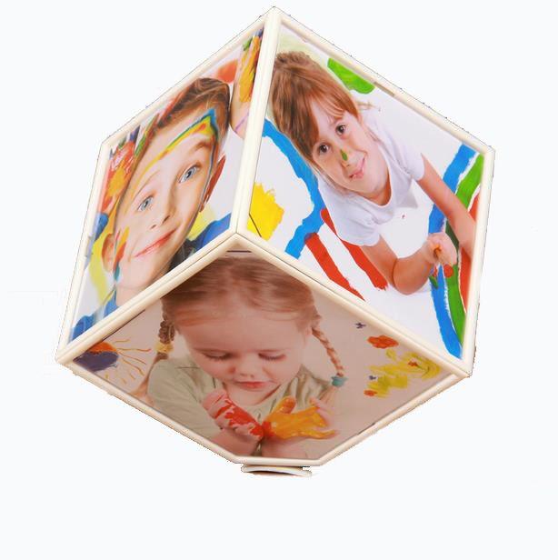 Électrique Automatique Rotation Cadre Photo Art Décor Créatif Six côtés Cadre Photo Personnalité Cube 360 degrés Dimensions Cadre