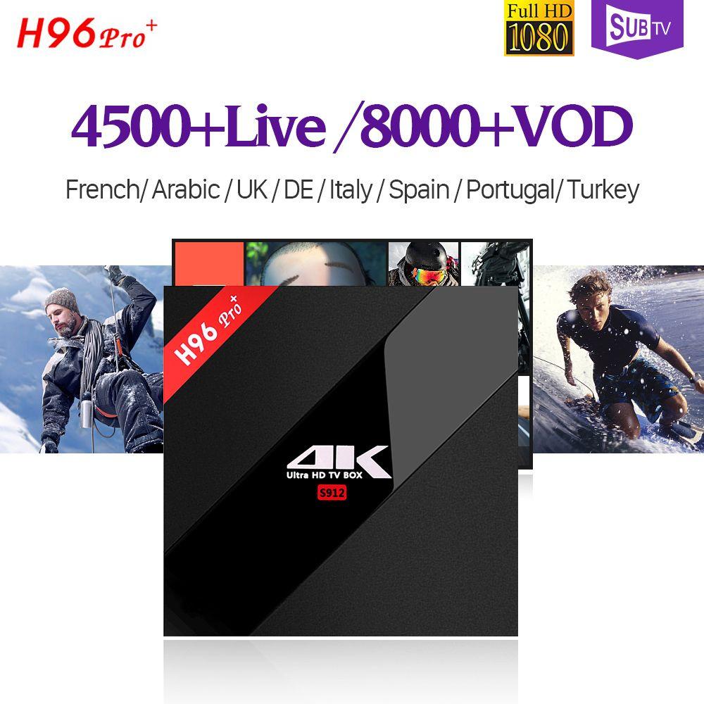 4K H96 PRO Plus Android 7.1 Smart IP TV Box S912 32GB 1 Year SUBTV Code 4500 + IPTV Europe Arabic Turkish French IPTV Box H96PRO