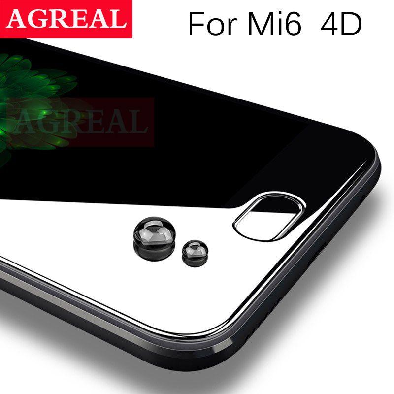 AGREAL 4D Pleine Couverture En Verre Trempé pour Xiaomi Mi6 9 H 0.26 MM 3D Bord incurvé Écran Protecteur Film Pour Xiaomi Mi 6 pour Xiaomi 6
