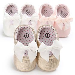 New 0-18 Months Newborn Baby Girl Pink Kahaki White Pu Leather Princess Shoes Bowknot First Walkers