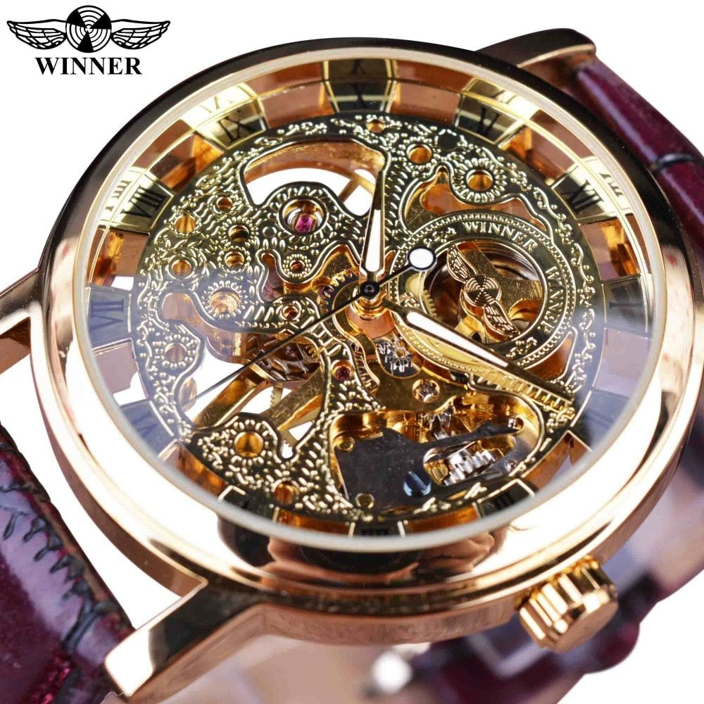 Winner Royal Carving Skeleton Brown Leather Strap Transparent Thin Case Skeleton Design Watch Watches Men Luxury Brand Clock Men