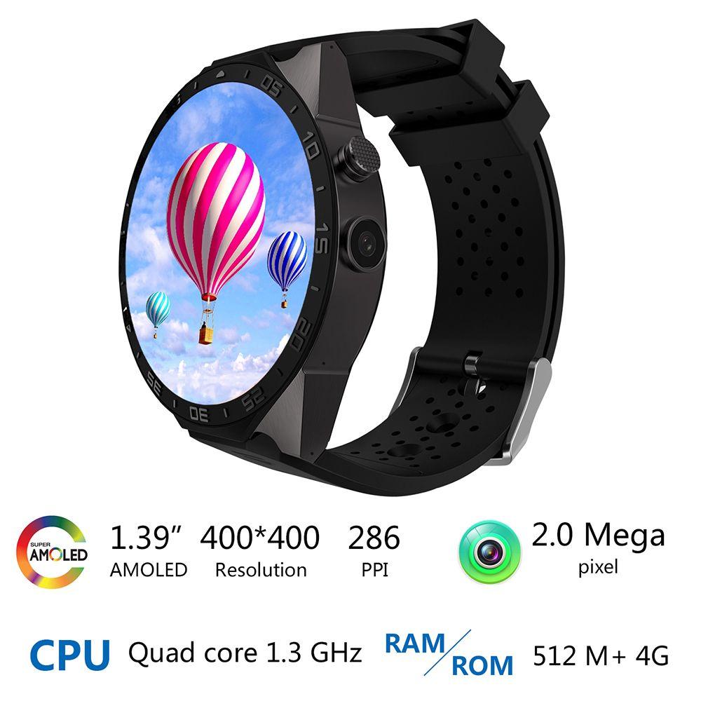 Kingwear Kw88 android 5.1 OS Smart montre électronique android MTK6580 quad core Processeur de Fréquence Cardiaque 3G wifi Sans Fil SmartWatch