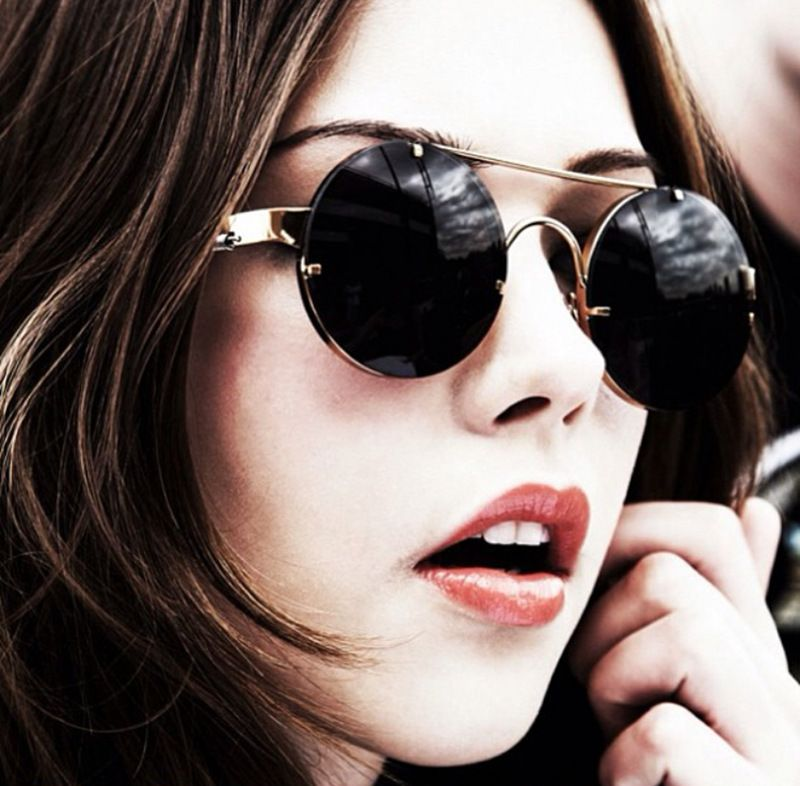 Prouddémon nouveau rétro rond Steampunk lunettes de soleil femmes de luxe populaire en métal printemps lunettes de soleil pour hommes grand miroir lentille Oculos