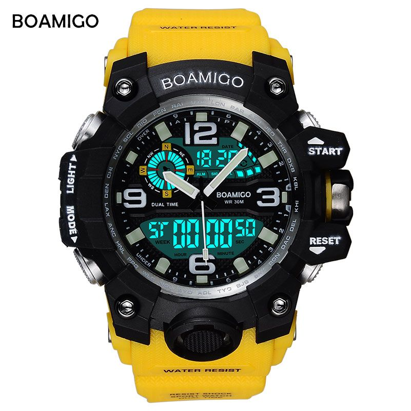 BOAMIGO Brand Men Sports Watches LED Digital Analog <font><b>Wrist</b></font> Watch Swim Waterproof Yellow Rubber Gift Clock Relogios Masculino