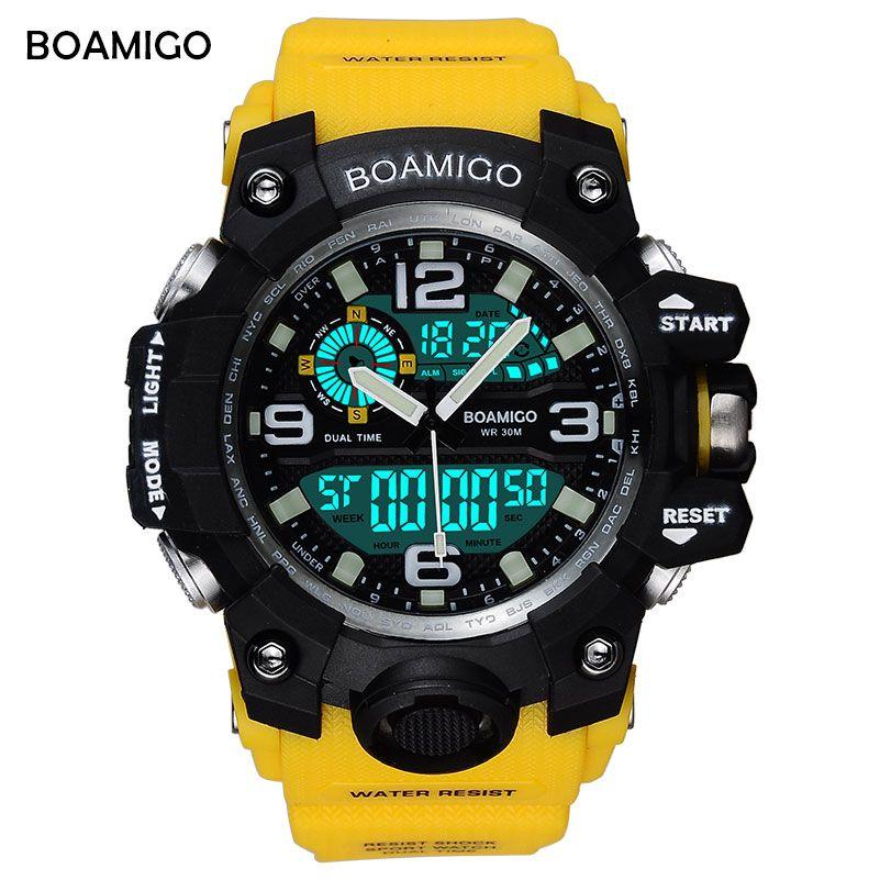 BOAMIGO Brand Men Sports Watches LED <font><b>Digital</b></font> Analog Wrist Watch Swim Waterproof Yellow Rubber Gift Clock Relogios Masculino