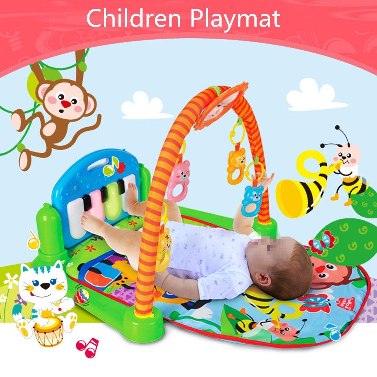 3 en 1 de Rainforest Musical Lullaby Actividad Bebé Playmat Gimnasio juguete Suave Alfombra Estera Del Juego Del Bebé de Fitness Infantil Educativo de Rack juguetes