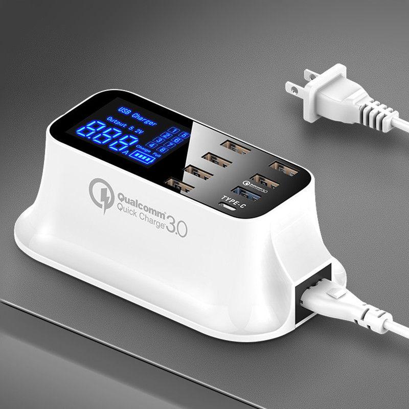 Charge rapide 3.0 Smart USB type C station de charge led Affichage tablette téléphone De Charge Rapide USB chargeur pour iphone Samsung Adaptateur