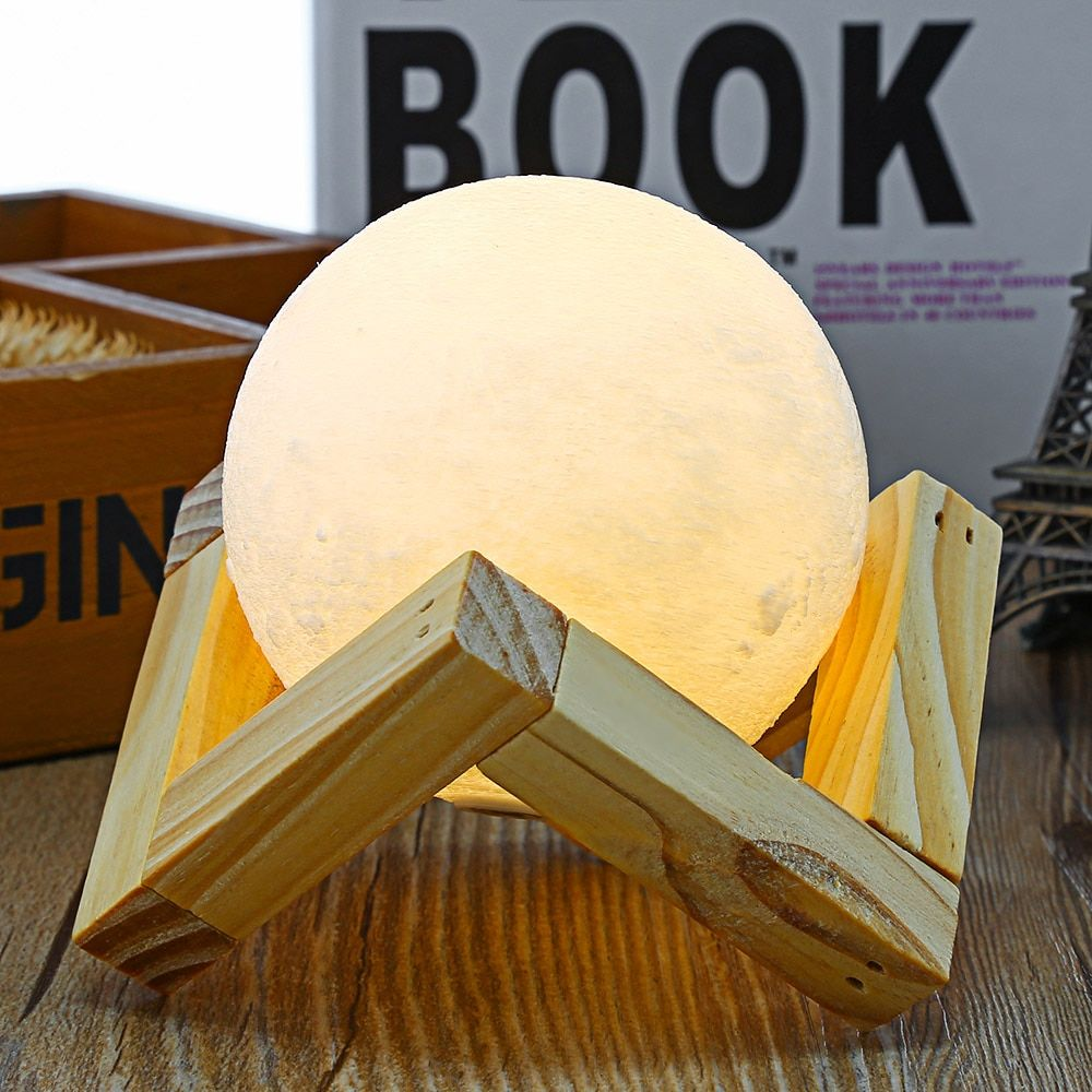 3D Print Moon Lamp Nightlight 2 Color Change Touch Switch Night Lamps Home Decor with Wood Holder 7.8cm 9cm 10cm 12cm 15cm 18cm