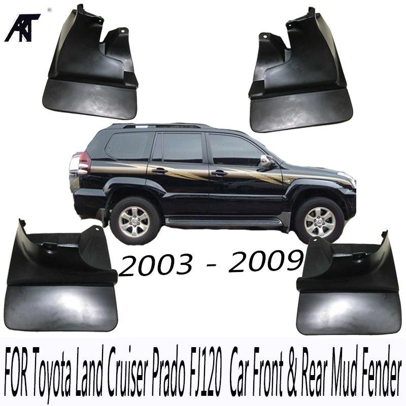 Black Front & Rear Mud Fender Flaps Splash Guard Mudguard Cover Trim For Toyota Land Cruiser Prado FJ120 2003 - 2009 Mudflaps