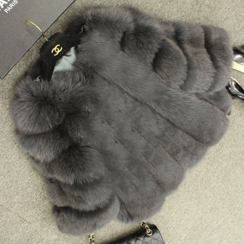 FURSARCAR Fashion 2017 Winter Natural Real Fur Coat 55cm lenght Silm Thick Woman Full Pelt true Fox Fur Female Jacket C0015