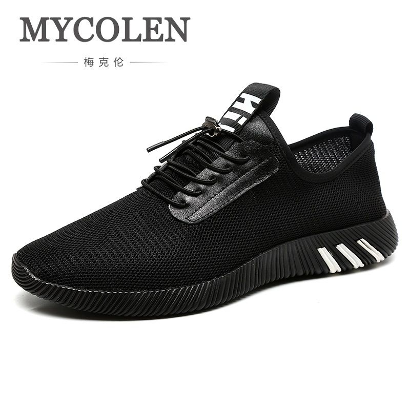 MYCOLEN Autumn Spring Mesh Shoes Comfortable Breathable Top Quality Lace Up Casual Shoes Black Luxury Brand Sneaker Shoes Men