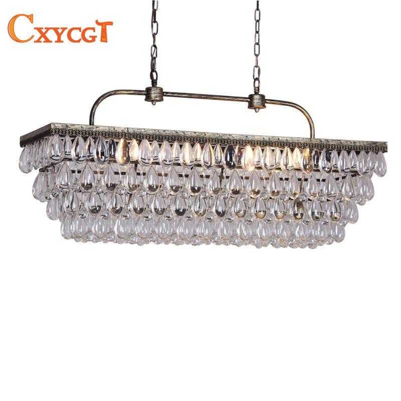 Vintage Rectangular Chandeliers LED Lighting Modern Glass Drops Chandelier Light For Home Hotel Wedding Centerpieces Decoration