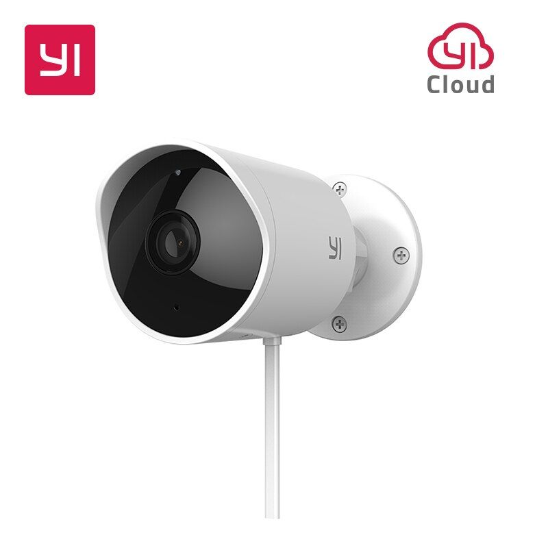 YI Outdoor Security Camera <font><b>Cloud</b></font> Cam Wireless IP 1080p Resolution Waterproof Night Vision Security Surveillance System White