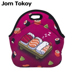JOM Tokio sushi aislamiento térmico 3D impresión Bolsas para comida para las mujeres niños bolsa de almuerzo bolsa alimentos Bolsas de picnic mano Bolsas