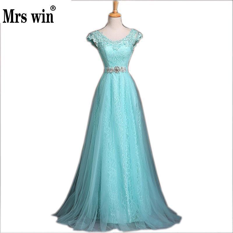 2016 nueva moda azul Encaje noche nupcial banquete partido largo elegante Vestidos de baile más tamaño Madre de la novia Vestidos