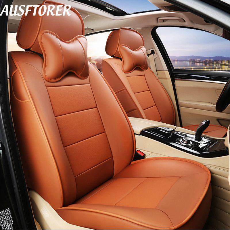 AUSFTORER Echtem Leder Sitzkissen für Volkswagen (VW) Passat B8 Wagon Variante Autos Sitz Abdeckung Protektoren Zubehör