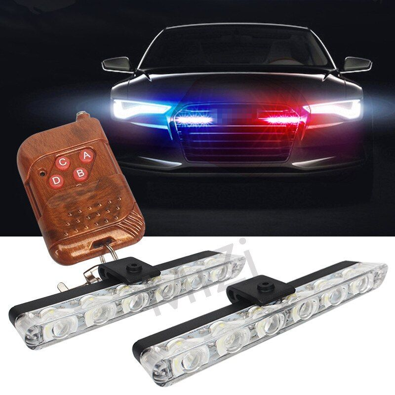 2x6 LED Wireless Remote Strobe Warning Lights 12V Car Work Light Ambulance Police light Emergency Flashing Light Super Bright