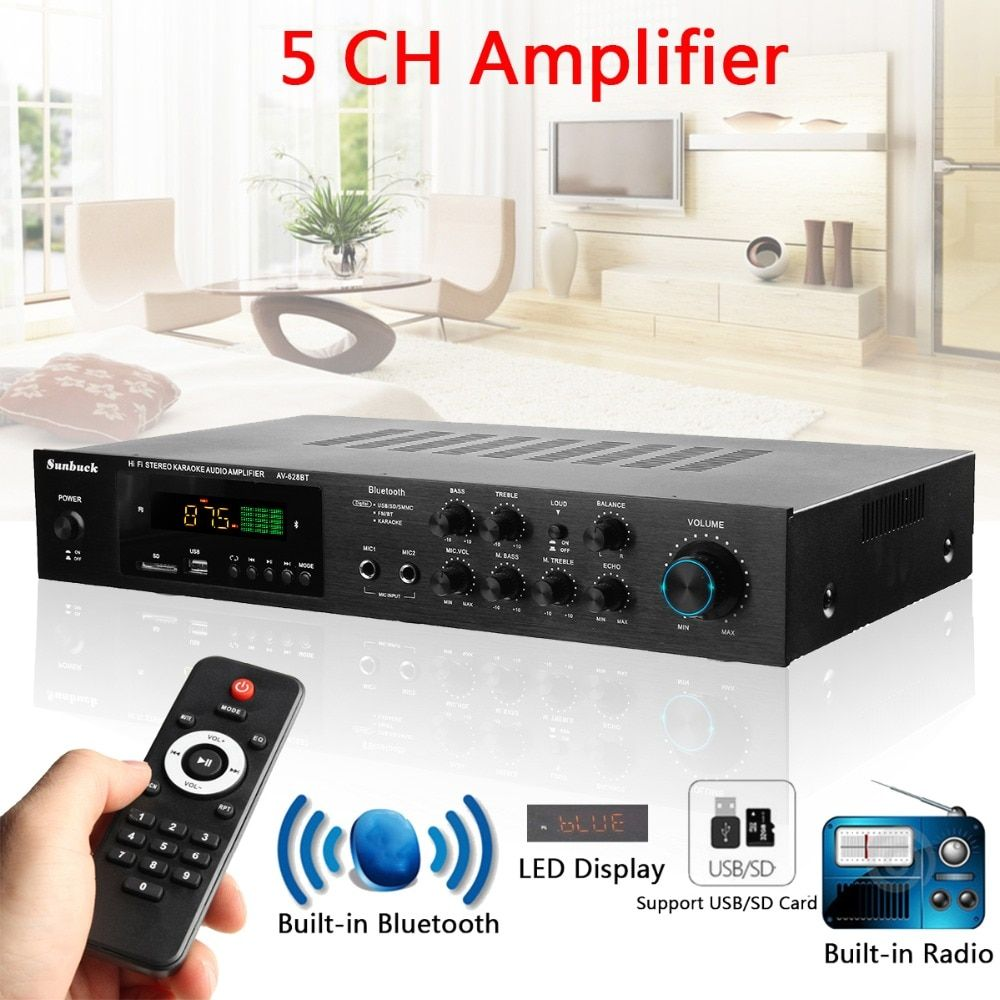Bluetooth HIFI Audio Wireless Version USB / SD Lossless Amplifier Karaoke 1120W 5CH POWER AMPLIFER Stereo Surround Home Cinema