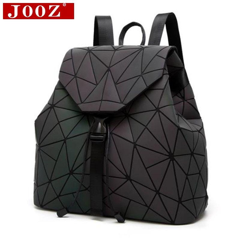 JOOZ Brand backpack women Rucksack Geometric Luminous School Backpack for For Teenage Girls Backbag holographic back pack