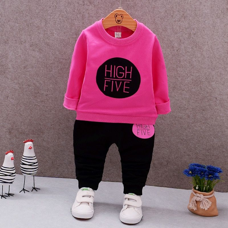 Bébé Girsl vêtements 2017 printemps bébé vêtements ensembles dessin animé impression Sweatshirts + pantalons décontractés 2 pièces pour bébé vêtements
