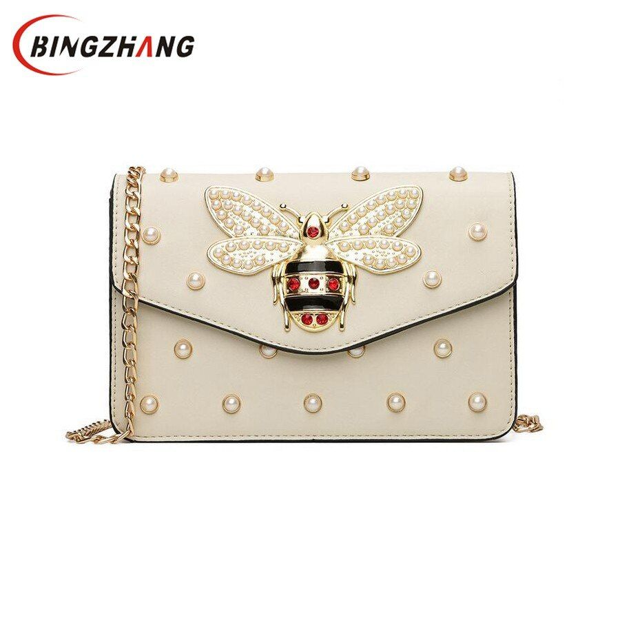 Women Brand Desinger <font><b>Rhinestones</b></font> Bee PU Leather Shoulder Bag Small Crossbody Bag with Chain For Girls Ladies Bag Bolso L4-3028