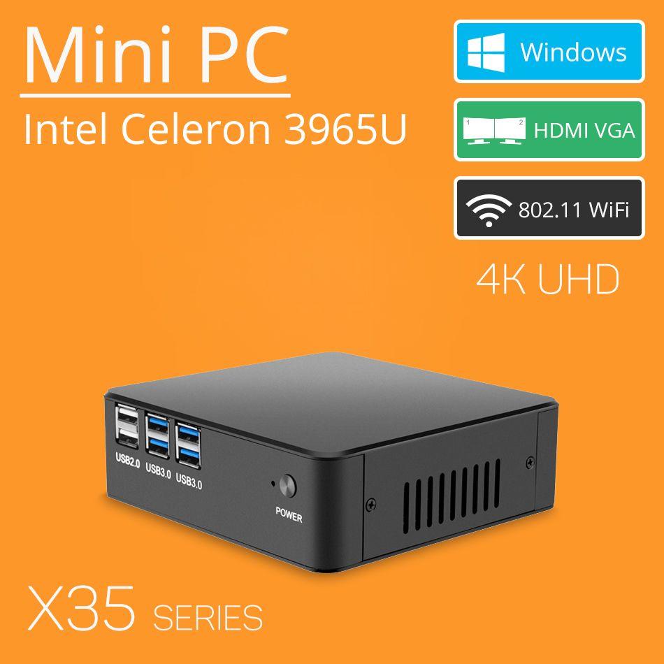 Mini PC Celeron 3965U Windows 10 4 Karat Unterstützung HDMI VGA USB3.0 300 Mt WiFi TV Box Micro PC NUC Ultra Kompakt und Stille minipc