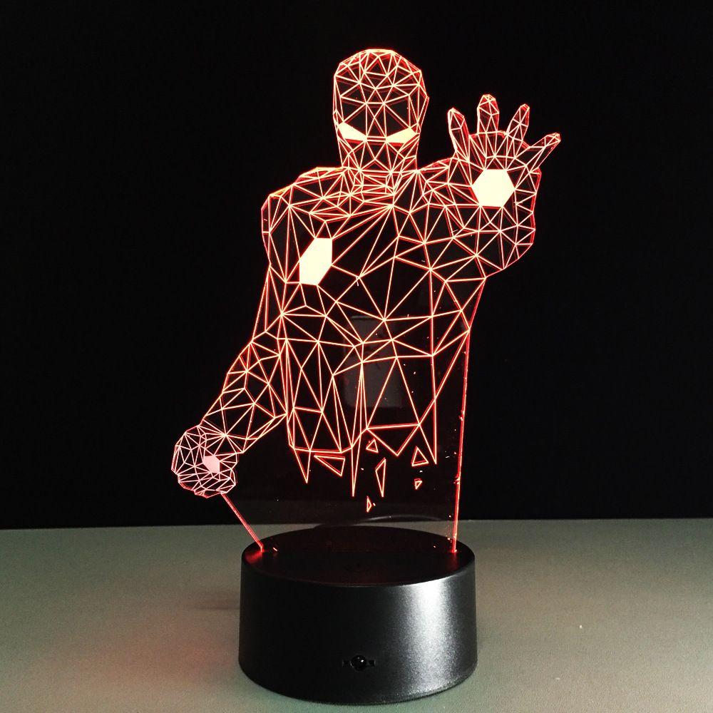 Changement de couleur 2018 à distance Avengers Mavel 3D lampe LED veilleuse fer homme 3D illusion lampe de nuit table bureau lampe éclairage à la maison