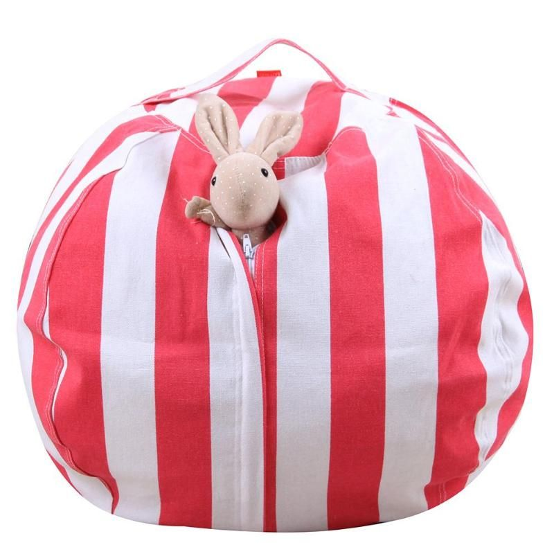 14 20 <font><b>Inch</b></font> Stripe Kids Plush Toys Storage Bag Pouch Storage Stuff Animal Bean Toy Bags with Carrier Handle