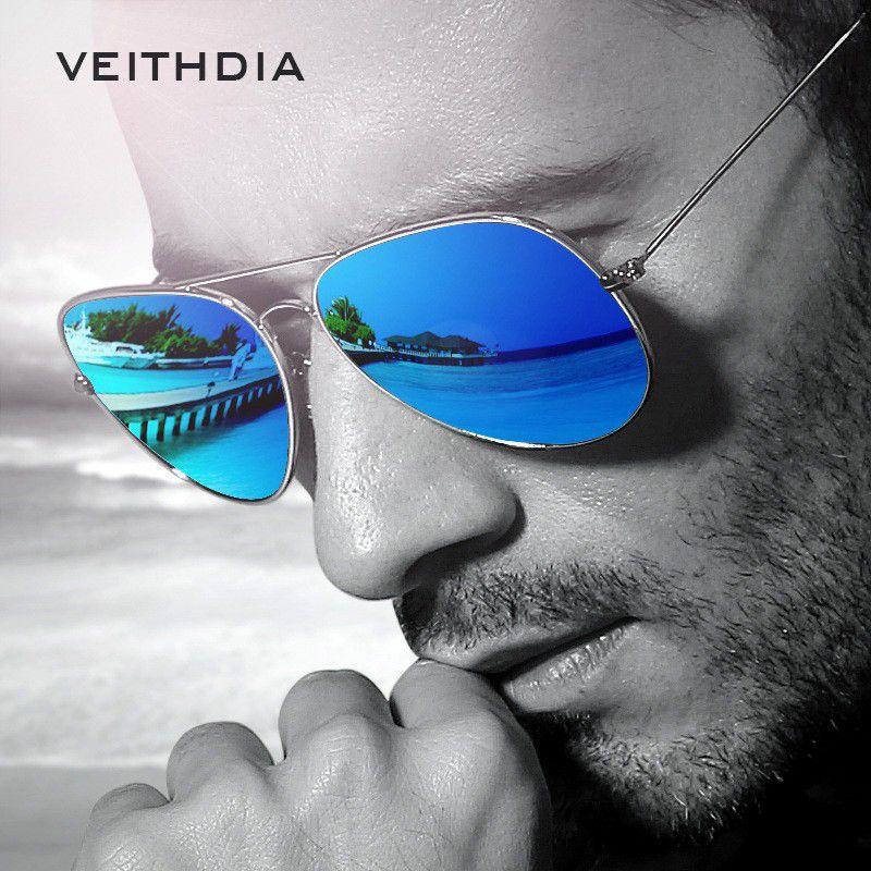 VEITHDIA Marque Unisexe Classique Designer Hommes Lunettes De Soleil Polarisées UV400 lentille miroir lunettes de soleil mode Lunettes Pour homme femme