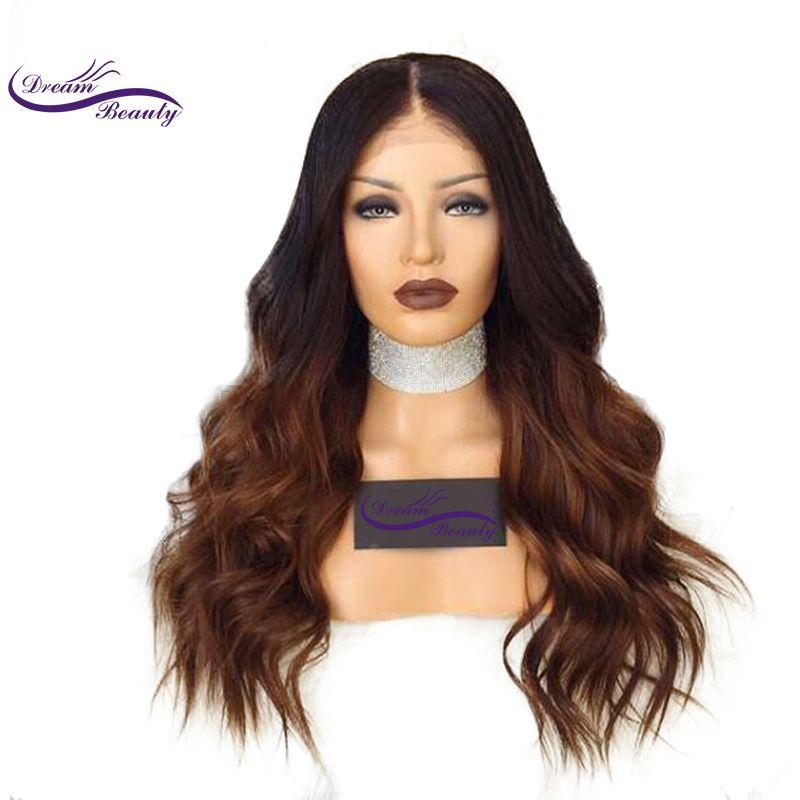 Träumen Schönheit Ombre Farbe Spitzefrontmenschenhaarperücken Mit Baby Haar Vor Gezupft Haaransatz Körperwelle Remy Brasilianisches Haar perücken