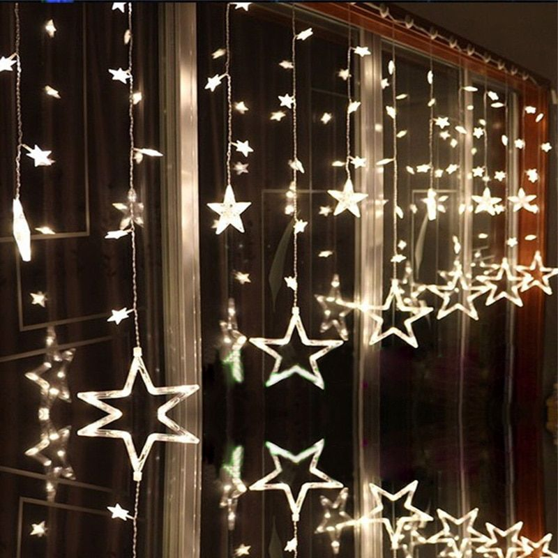 LAIMAIK AC110V or 220V Holiday Lighting LED Fairy <font><b>Star</b></font> Curtain String luminarias Garland Decoration Christmas Wedding Light 2M