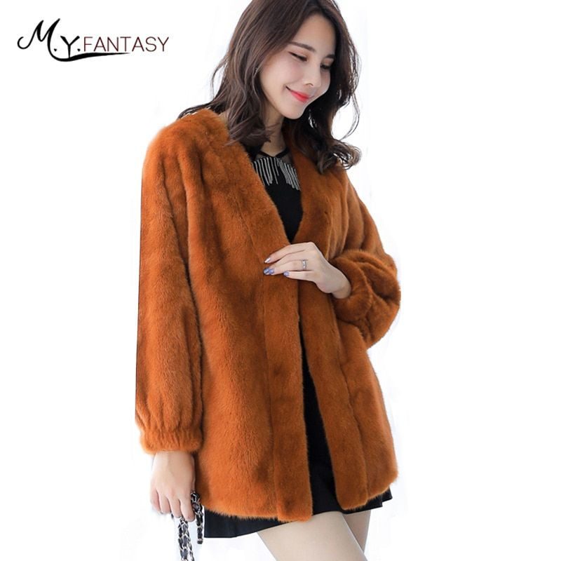 M.Y.FANSTY 2017 Autumn and Winter New Imported Velvet Mink Coat Female Whole Mink in the Long Section of Mink Fur Loose Jacket