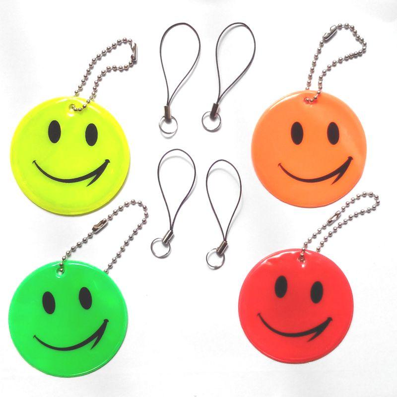 Wholesale 50pcs/lot, Smile Face Reflective keychain,bag pendant accessories, 4 colors, free shipping