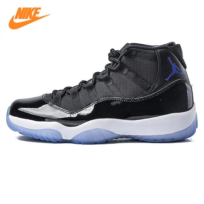 NIKE Air Jordan 11 Space Jam AJ11 Men Basketball Shoes, Black, Shock Absorption Non-Slip Abrasion Resistant 378037 003