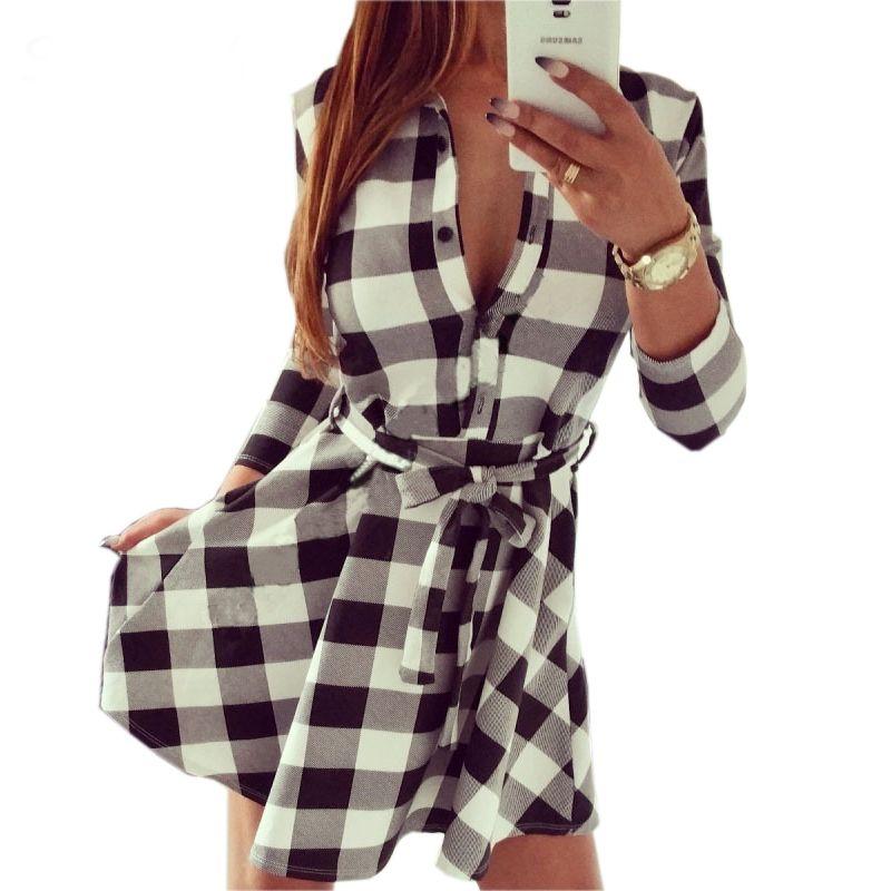 Autumn Plaid Dresses 2018 Explosions Leisure Vintage Dress Fall Women Check Print Spring Casual Shirt Dress Mini Dress Q0035