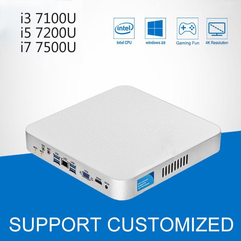 Intel Core CPU Mini PC i5 7200U i7 7500U Mini Computer Desktop i3 7100U Cooling Fan Windows 10 DDR4 8gb Ram 4K Computer