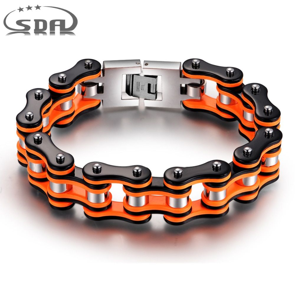 Hot Sale Orange black Motorcycle Chain Bracelets, Top quality 316L Stainless Steel Men's bracelets 16mm width SDA Jewelry YM079
