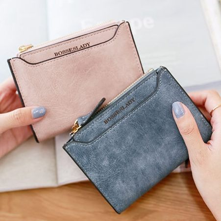 High quality matte PU leather Womens Wallets and Purses female letter purse zipper coin wallet multifunction Ladies card holders